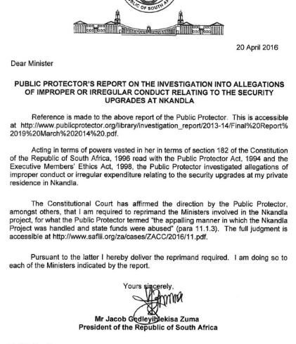 Zumas reprimand letters are a joke mmusi maimane politics image of one of the letters thecheapjerseys Images